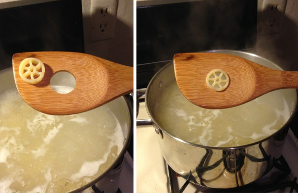 Pasta Wheel Fits Perfectly Into A Wooden Spoon