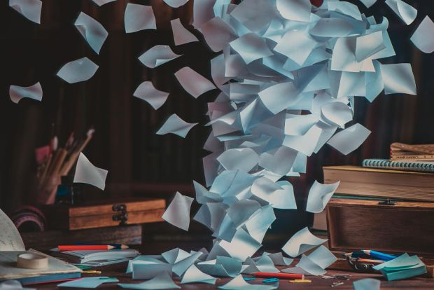 Still Life Photography Dina Belenko Folded Story All My Notes Desk Sticky Notes Note Pad Flying Paper Folded Paper Colored Pencils Desktop Stories