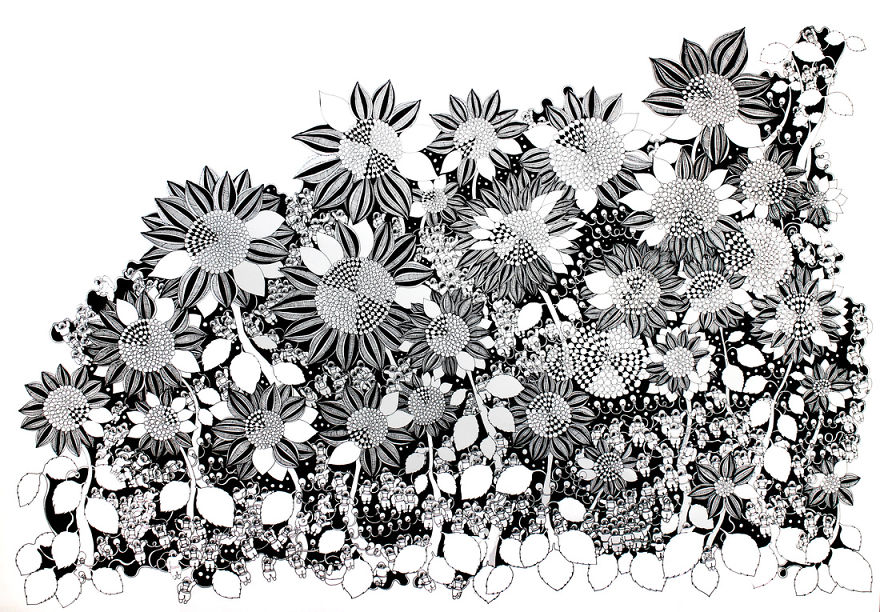 I Draw Detailed Illustrations With Black Pens On White Paper Bored Panda