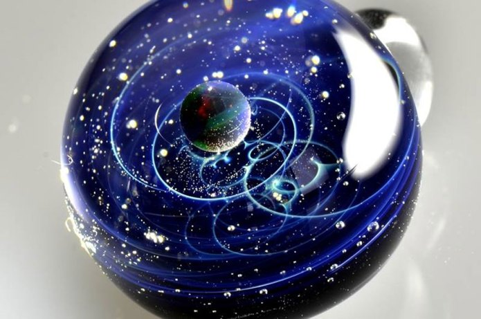 """Japanese Artist Traps Star Systems In Tiny, ""Space Glass"" Pendants"" 