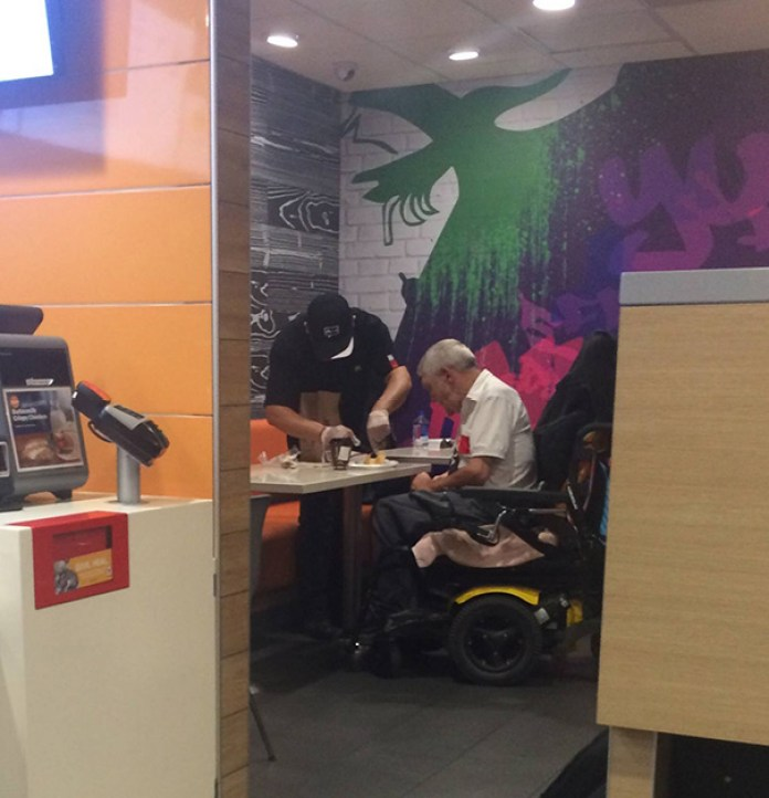 McDonald's Employee Helped Elderly Disabled Man With His Food