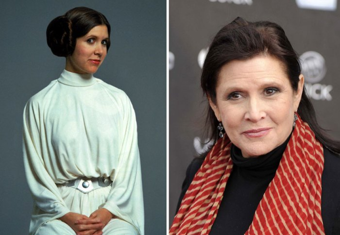 Carrie Fisher And Princess Leia, 1977 And 2015