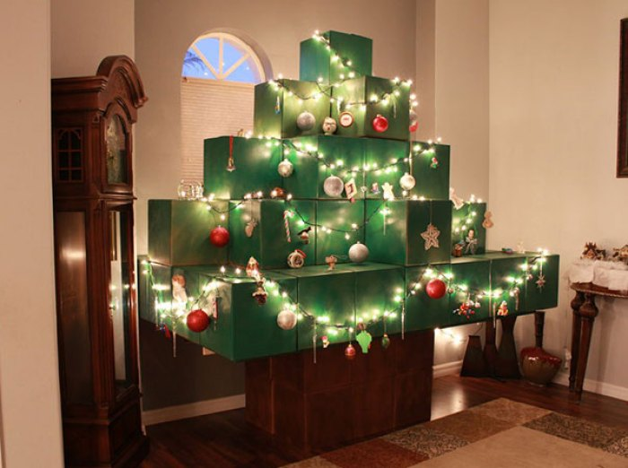 Life-size Minecraft Christmas Tree