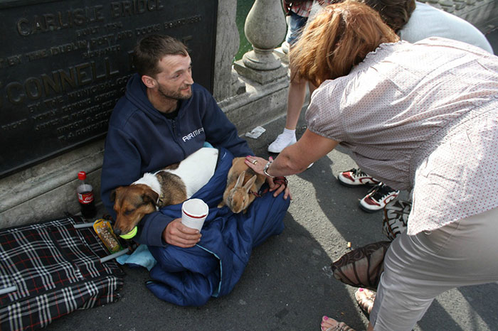 Homeless Man With His Dog And Rabbit