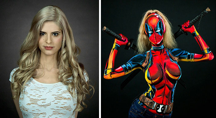 Woman Paints Stunning Superhero Costumes On Her Naked Body