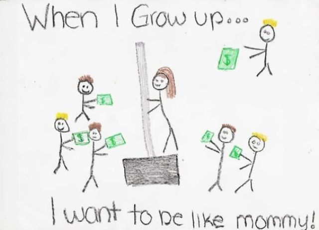Little Girl Drew A Picture Of Her Mom At Work. The Mother Is Actually Selling A Snow Shovel At Home Depot
