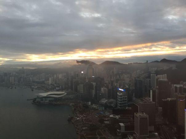 Hong Kong cuando llegue a trabajar por la mañana