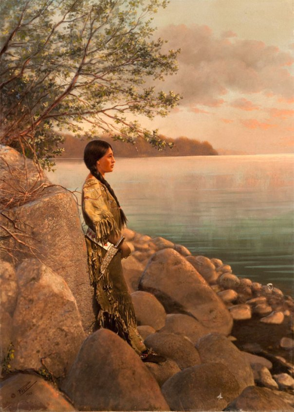 Imprimir pintado a mano de una mujer joven por el río.  Principios de 1900.  Foto Por Roland W. Reed