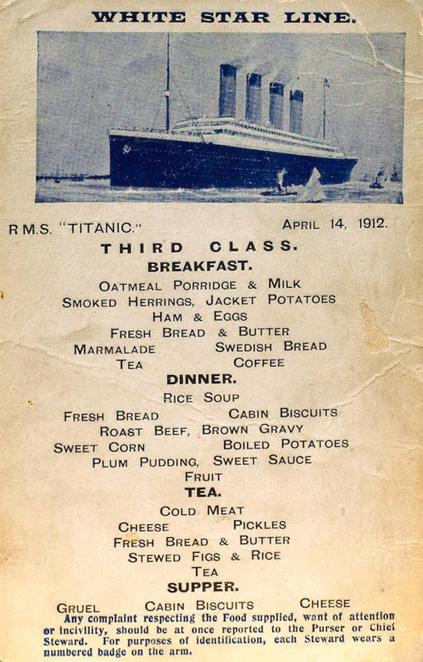 Titanic Food Menus For 1st 2nd And 3rd Class Passengers