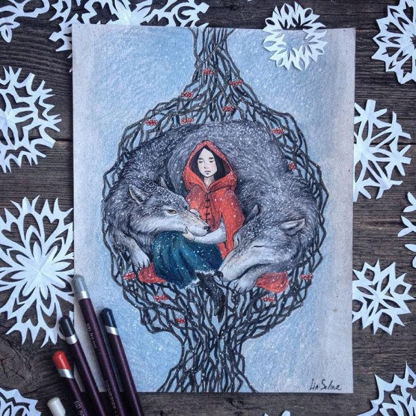 cuento de hadas-ilustraciones a todo color lápiz-lia-selina-18
