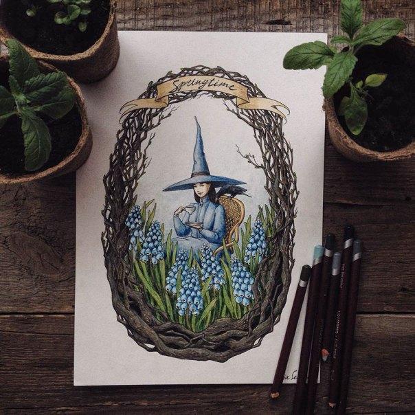 cuento de hadas-ilustraciones a todo color lápiz-lia-selina-21