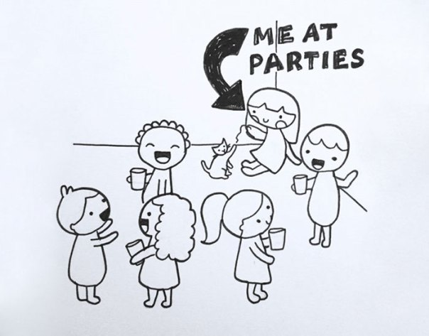 Image result for introvert at a party free image