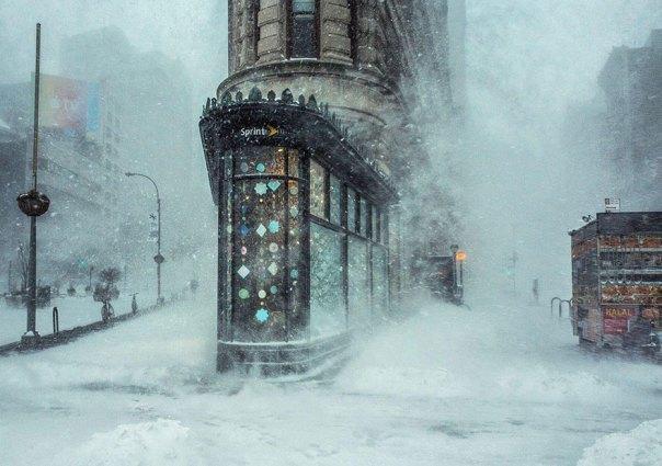 Jonas de Blizzard y el edificio Flatiron, Nueva York, Estados Unidos