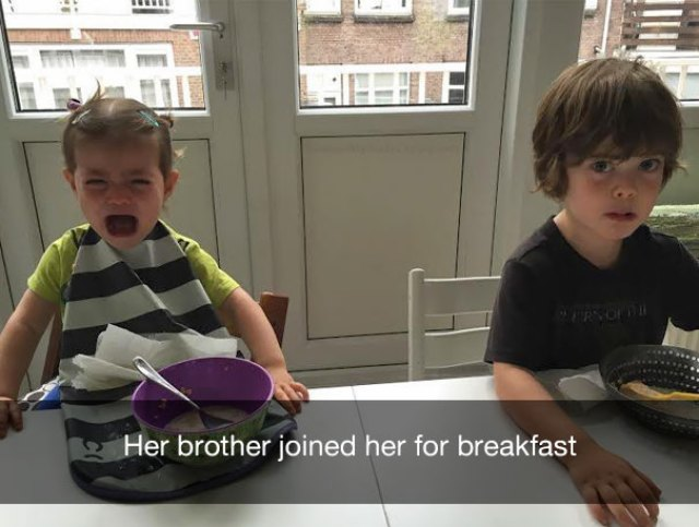 Her brother joined her for breakfast