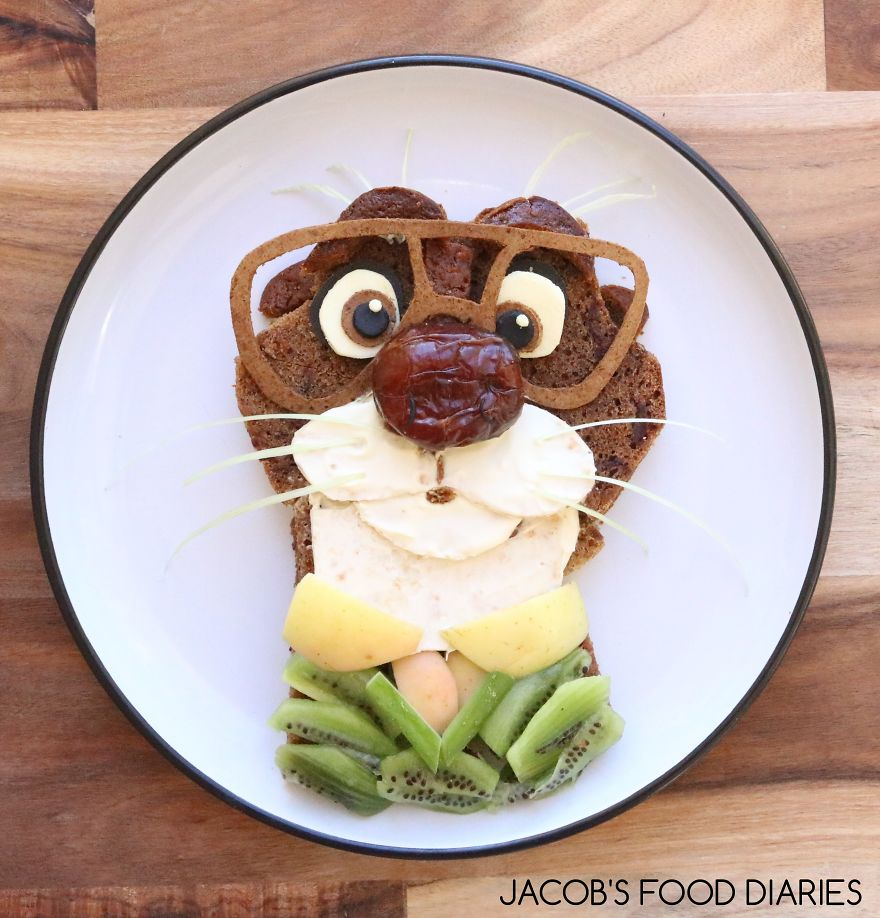 Mr. Otterton From Zootopia. Spelt Stickey Date Pudding With Light Cream And Fruit