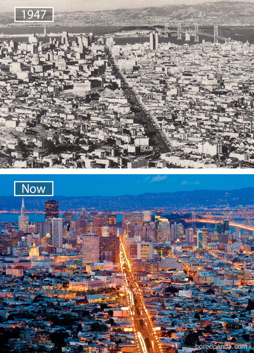 San Francisco, Usa - 1947 And Now
