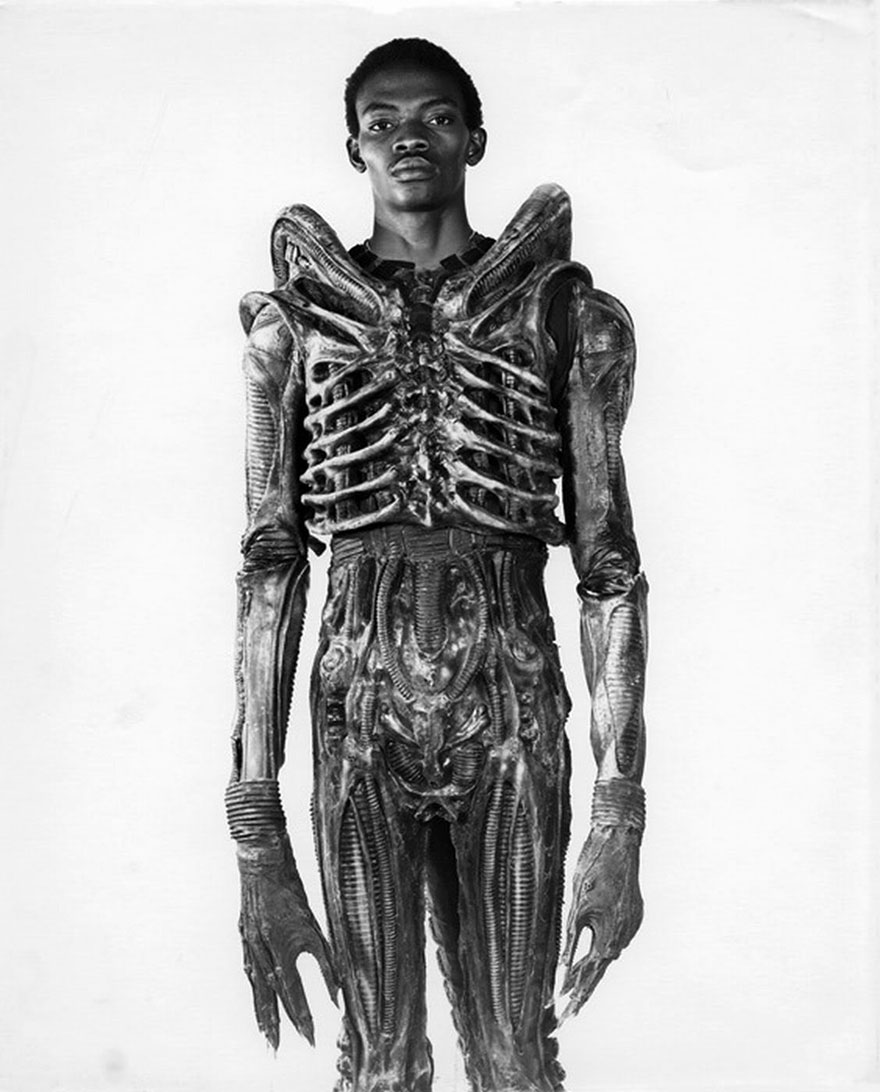 7-Foot Bolaji Badejo, A Nigerian Design Student And One-time Actor, Wearing His Costume From The Now Classic Sci-Fi Thriller Alien, 1978