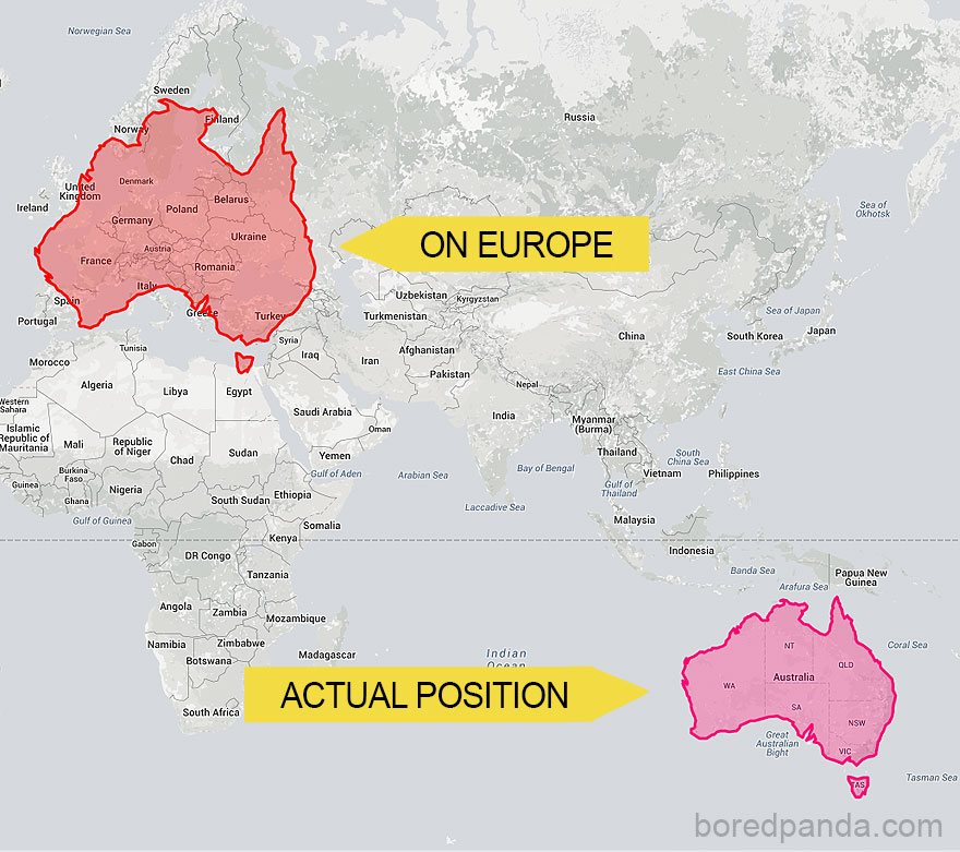 Australia Is Way Bigger Than You May Think - It Covers Almost The Whole Of Europe