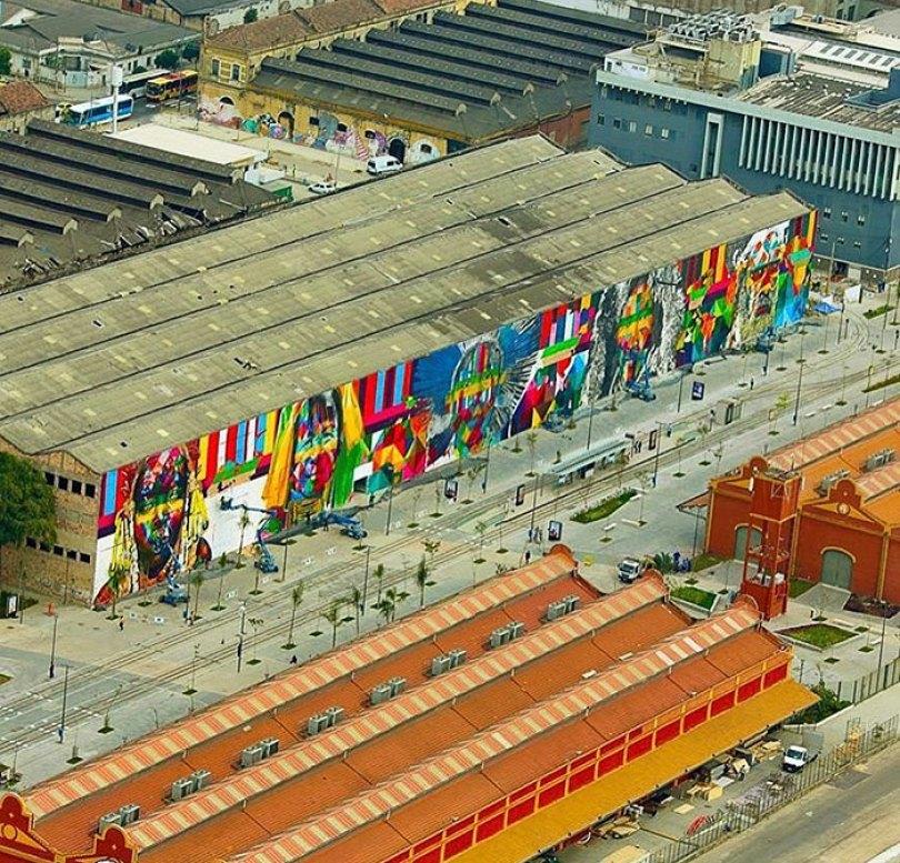 world largest mural street art las etnias the ethnicities eduardo kobra rio olympics brazil 3 - Murais de Graffiti de Eduardo Kobra pelo mundo