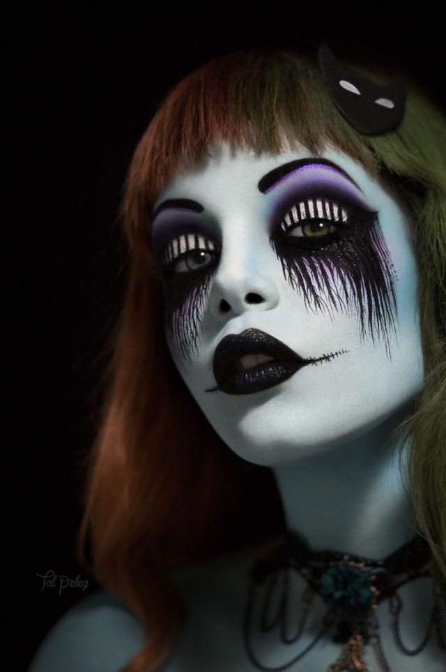 Or you can go full face like this Tim Burton inspired look