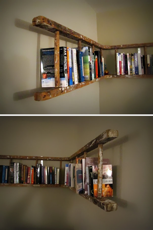 Old Ladder turned Into Bookshelf