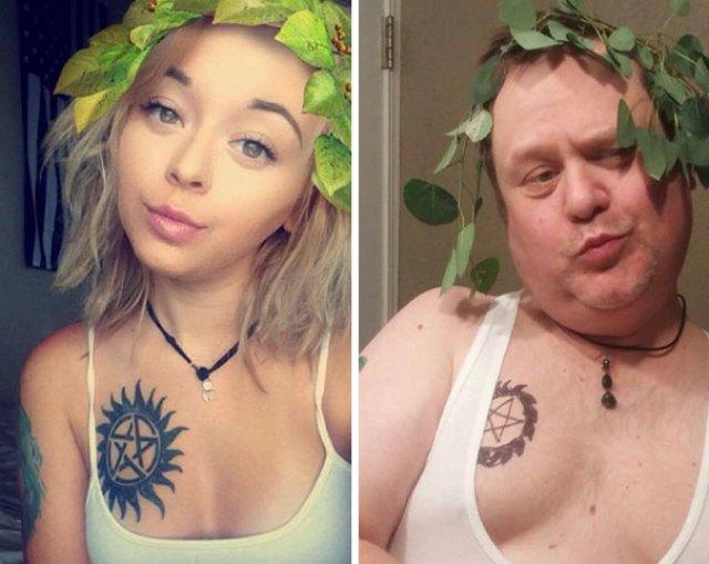 Apa és lánya szelfi