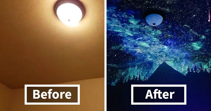 Woman Creates Glow In The Dark Galaxy Painting For Boy Who