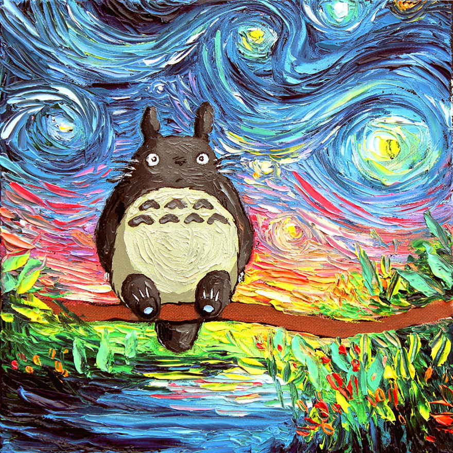 Totoro Starry Night Oil Painting By Sagittariusgallery