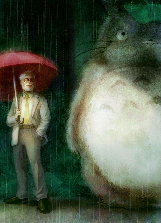 Hayao Miyazaki And Totoro By Ono Mono