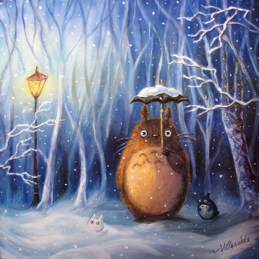 6 Totoro And Winter Oil Painting By Villasukka