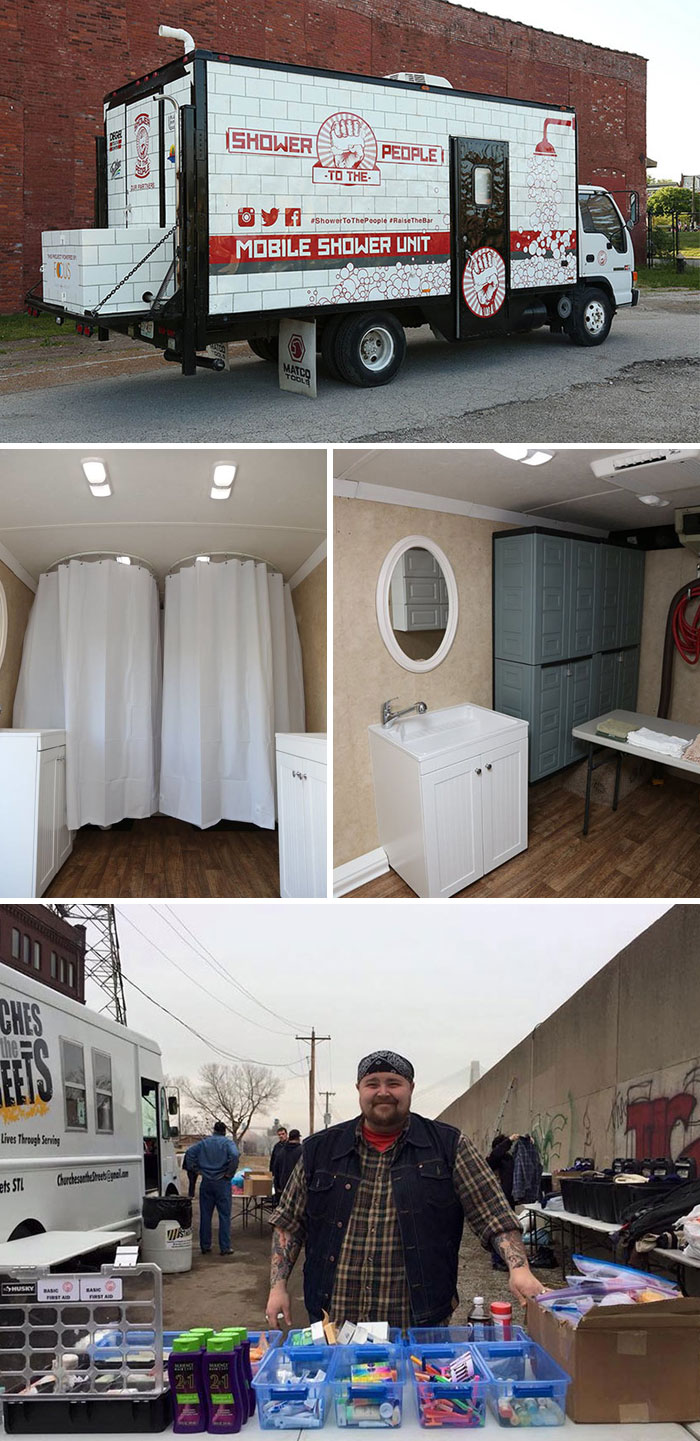 Man Turns Old Truck Into Mobile Shower For Homeless People To Wash Up And Restore Their Dignity