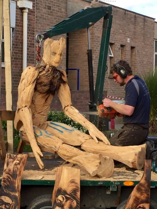I Create Detailed Wooden Sculptures Carving Them With A Chainsaw