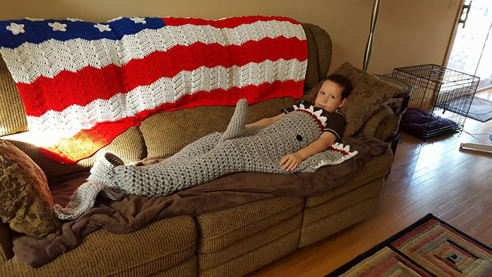 Grandma Crocheted A Shark Blanket