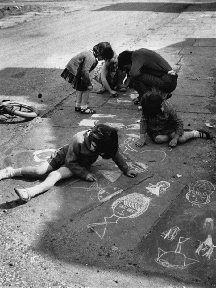 Children Drawing With Chalk, Manchester, 1966