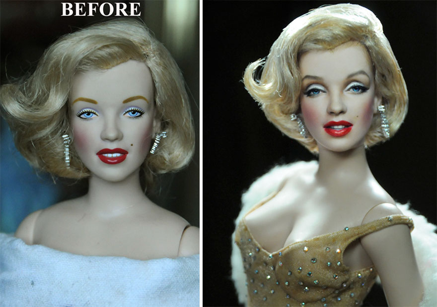 Artist Repaints Mass Produced Dolls To Make Them Look More