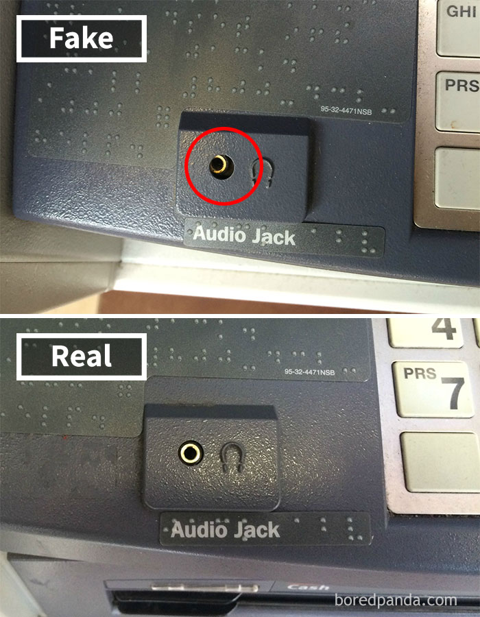 How To Spot An ATM Skimmer: Headphone Socket Sunk In And Off Alignment