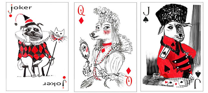 dog playing cards
