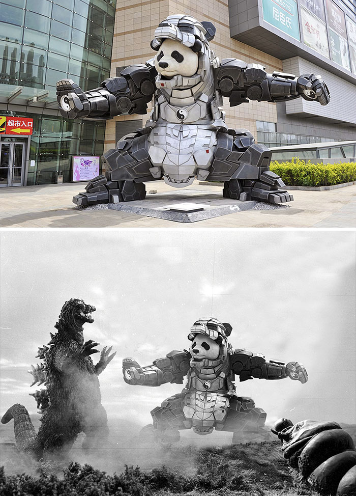 Epic Robot Panda Statue In Tokyo