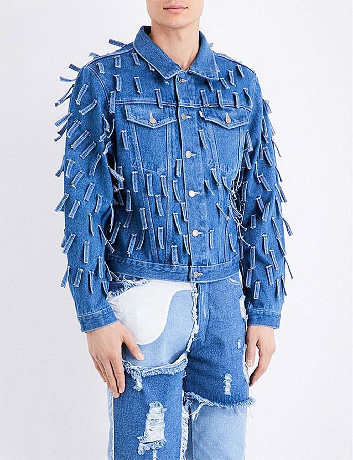 Men's Blue Fringed Denim Jacket