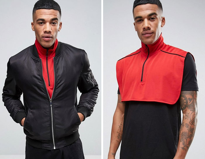 High Neck Zip Through Collar In Red