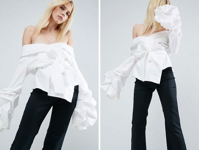 White Off Shoulder Wrap Shirt