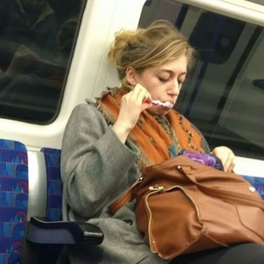 Spotted. Girl Brushing Her Teeth! And She Spat In Her Bag Too