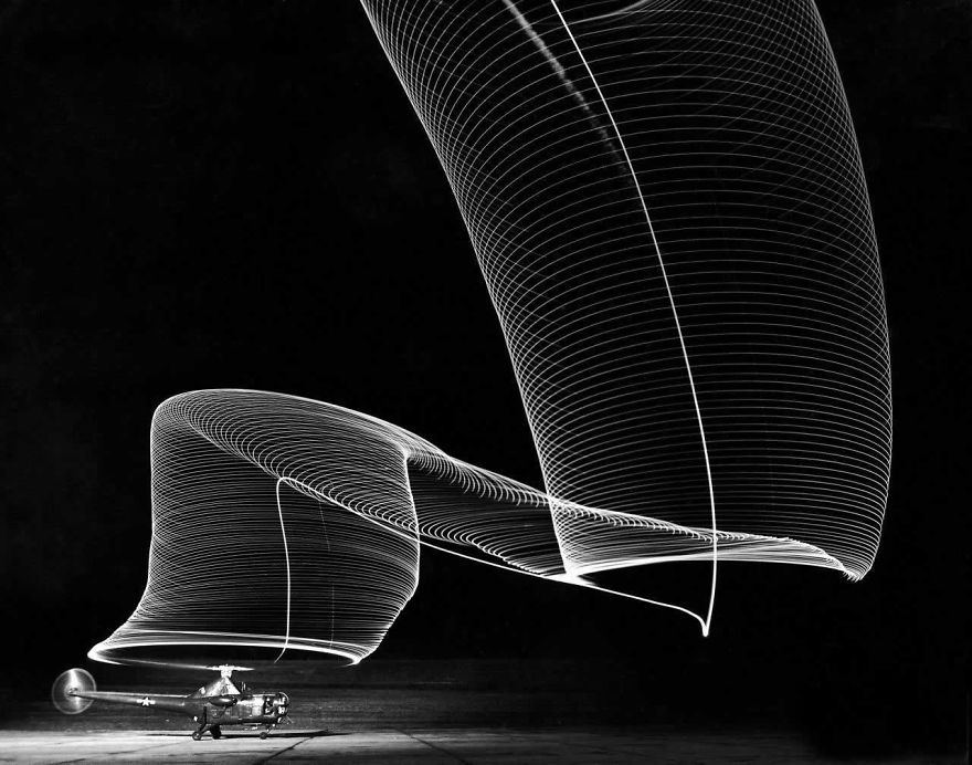 Long Exposure Of Helicopter Landing