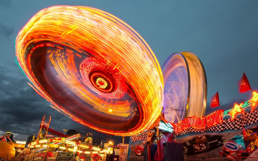 Long Exposure Of A Tilt-A-Whirl