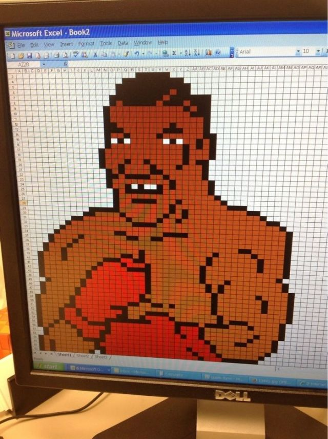 Getting Bored At Work. Made Mike Tyson In Excel