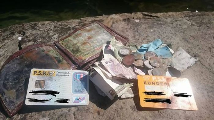 """So My Dad, A Fisherman At Lake """"attersee"""", Austria, Just Fished Up His Old, Lost Wallet In One Of His Fishnets, After He Had Dropped It Into The Lake 20 Years Ago"""
