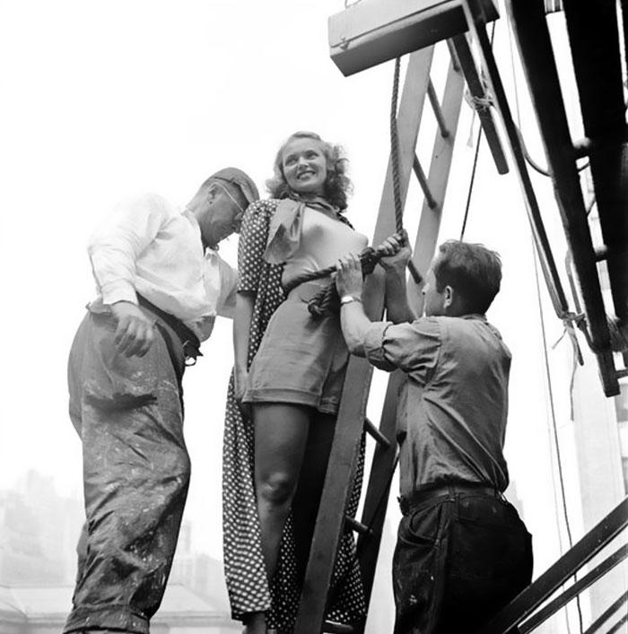 Painter Tying Rope Around The Model's Waist, 1947