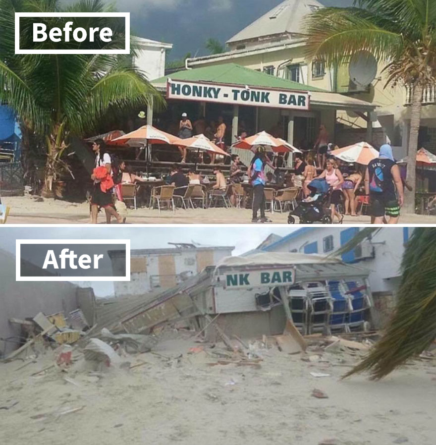 Popular Honky Tonk Bar In Philipsburg St Martin (Before And After Irma Damage)