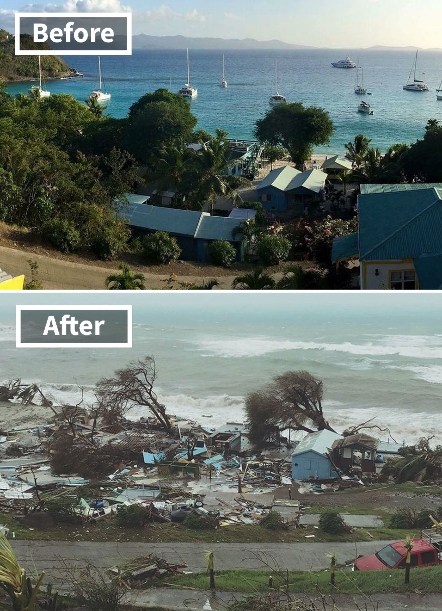 Popular Ivan's Stress Free Bar On Jost Van Dyke In The British Virgin Islands (Before And After Irma Damage)