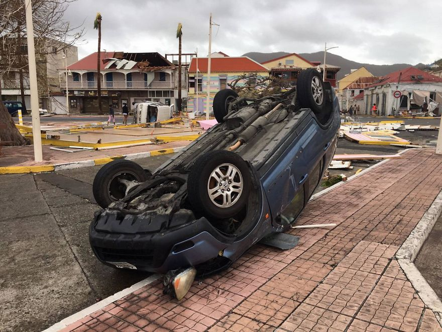 Car Was Left Overturned After Hurricane Irma Smashed In St Martin
